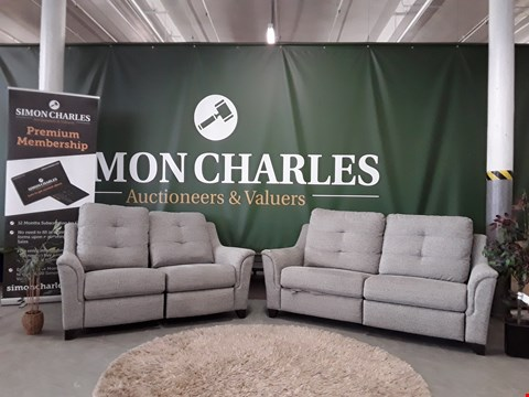 Lot 3005 QUALITY BRITISH MADE, HARDWOOD FRAMED GREY WEAVE FABRIC POWER RECLINING 3 AND 2 SEATER SOFAS