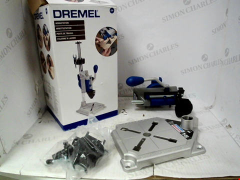 Lot 11053 DREMEL WORKSTATION DRILL-PRESS, ROTARY TOOL HOLDER, FLEX SHAFT TOOL STAND AND TOOLBOX