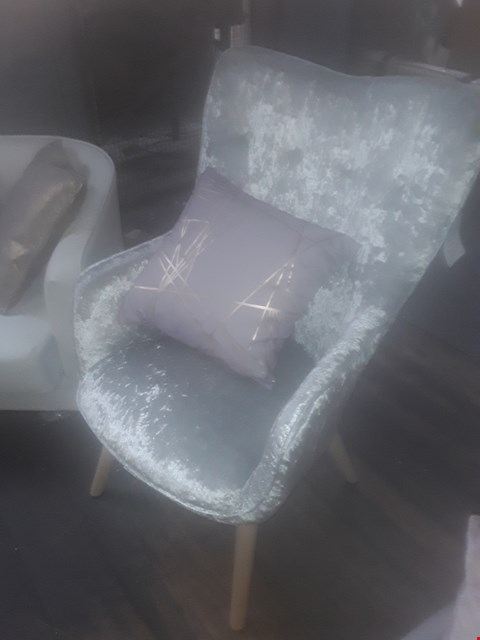 Lot 57 ALTON CRUSHED SILVER VELVET ARMCHAIR WITH FOOTSTOOL  RRP £349