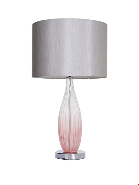 Lot 1579 GRADE 1 ALICIA OMBRE PINK GLASS TABLE LAMP RRP £74.99