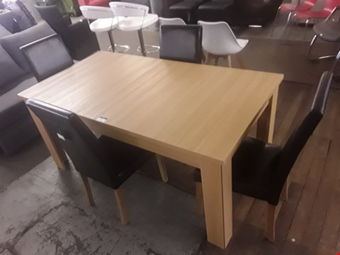 Lot 2048 QUALITY DESIGNER BANBURY OAK EXTENDING RECTANGULAR DINGING TABLE WITH FOUR MALMO BLACK PU LEATHER CHAIRS  RRP £1159.95
