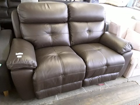 Lot 31 DESIGNER BROWN LEATHER POWER RECLINING TWO SEATER SOFA