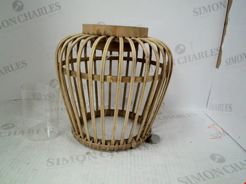 Lot 1283 1 BAMBOO LANTERN AND A GLASS CANDLE VOTIVE