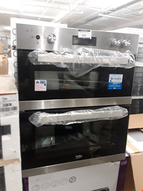Lot 408 BEKO BTQF22300X STAINLESS STEEL BUILT-IN ELECTRIC DOUBLE MULTIFUNCTION OVEN