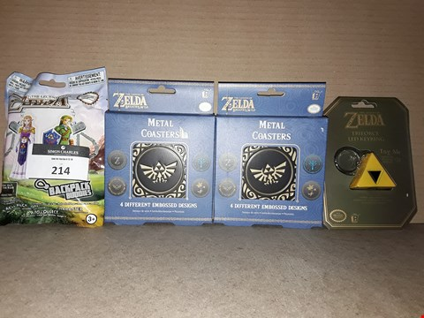 Lot 214 LOT OF 4 BOXED BRAND NEW THE LEGEND OF ZELDA ITEMS TO INCLUDE 2X METAL COASTERS, TRIFORCE KEYRING AND BACKPACK BUDDIES PACK