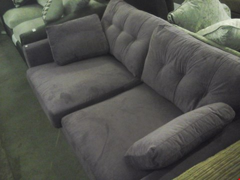 Lot 81 DESIGNER PURPLE FABRIC 2 SEATER SOFA WITH ARM CUSHIONS