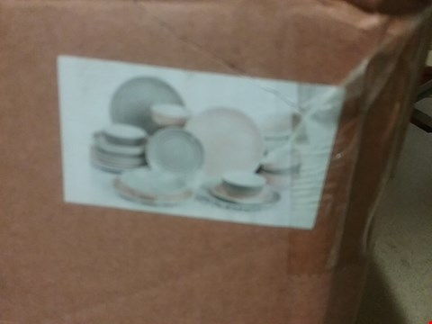Lot 3338 24PC PINK & GREY SPIN WASH DINNER SET RRP £77.99