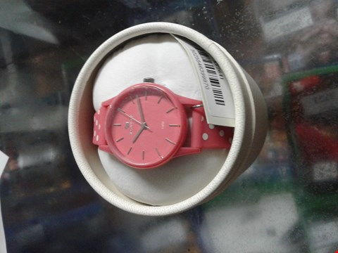 Lot 1537 BRAND NEW RADLEY WATCH IT! CORAL DIAL WITH SILVER DOG CHARM AND CORAL PINK STRAP LADIES WATCH RRP £85