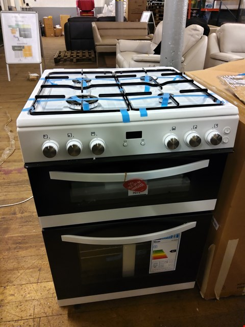 Lot 7072 SWAN SX15890W 60CM TWIN GAS COOKER WHITE RRP £399.99