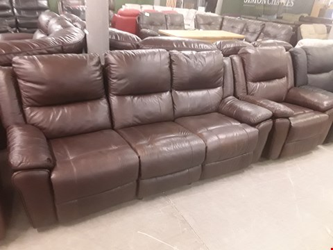 Lot 649 QUALITY MADE DERBY CHESTNUT HIDE MATCH LEATHER THREE SEATER MANUALLY RECLINING SOFA AND TWO MANUALLY RECLINING ARMCHAIRS RRP £2499.99