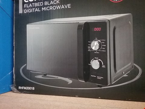 Lot 600 RUSSELL HOBBS RHFM2001B FLATBED MICROWAVE, 19 LITRE, BLACK