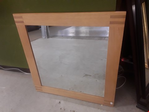 Lot 596 SQUARE OAK FRAMED MIRROR TOTAL SIZE APPROXIMATELY 80X80CM
