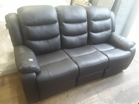 Lot 12 DESIGNER BLACK FAUX LEATHER THREE SEATER MANUALLY RECLINING SOFA