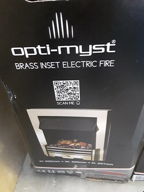 Lot 66 DIMPLEX OPTI-MYST BRASS INSET ELECTRIC FIRE  RRP £492.00