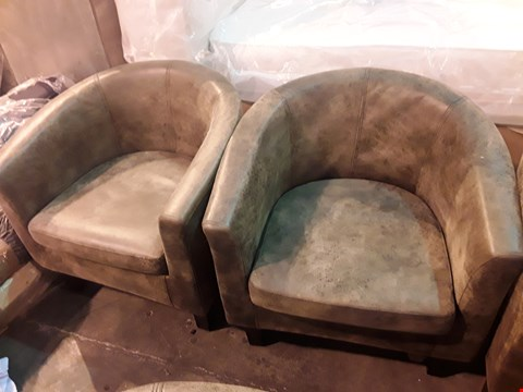 Lot 92 PAIR OF DESIGNER DISTRESSED BROWN FAUX LEATHER TUB CHAIRS
