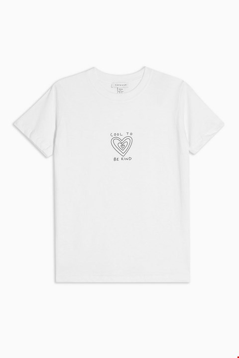 Lot 3720 BRAND NEW TOPSHOP PETITE COOL TO BE KIND WHITE T-SHIRT - SIZE L