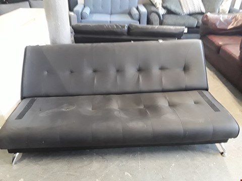 Lot 322 DESIGNER BLACK FAUX LEATHER CLICK-CLACK STYLE SOFA BED