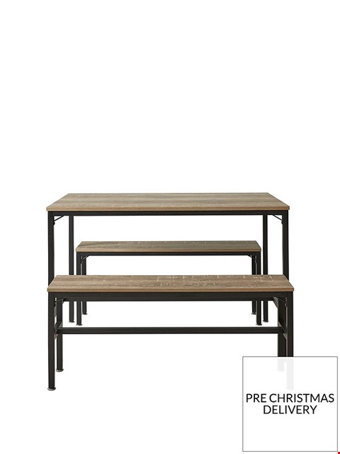 Lot 2046 BOXED GRADE 1 TELFORD RUSTIC OAK DINING TABLE WITH 2 BENCHES