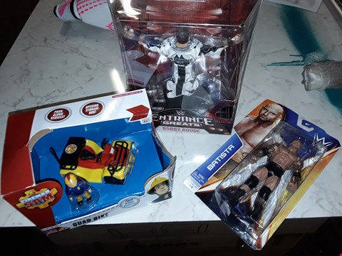 Lot 241 LOT OF 3 ASSORTED TOY ITEMS TO INCLUDE DAVE BATISTA WRESTLING FIGURE,BOBBY ROODE AND FOREMAN SAM QUAD BIKE