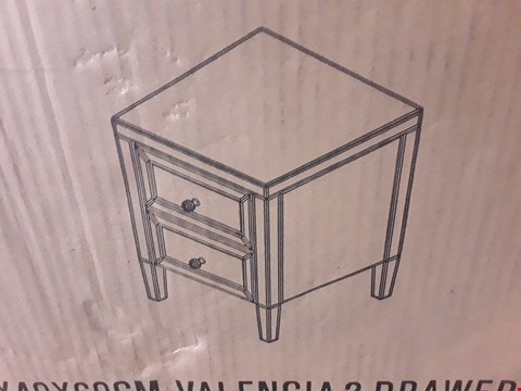 Lot 11079 BOXED VALENCIA 2 DRAWER MIRROR BEDSIDE CABINET