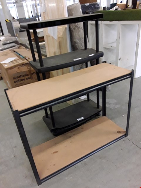 Lot 199 LOT OF 2 STORAGE ITEMS TO INCLUDE 4-SHELF BLACK PLASTIC SHELVING