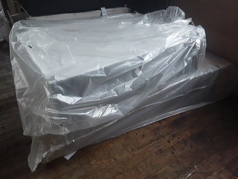 Lot 11040 LOT OF 2 ASSORTED DIVAN BED BASE PARTS- PATTERENED WHITE AND GREY CANVAS