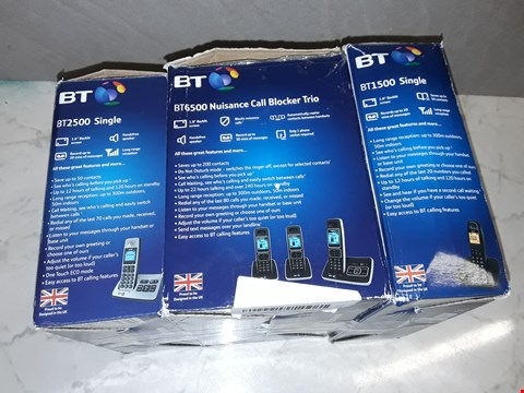 Lot 6137 LOT OF 3 ASSORTED BY HOME PHONES TO INCLUDE BT6500 TRIO, BT1500 AND BT2500 MODELS