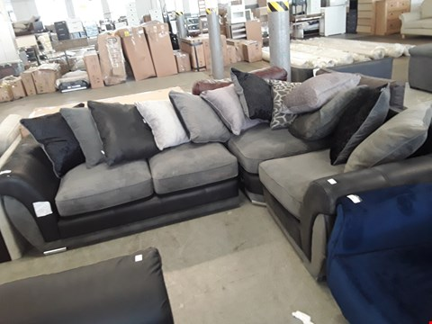 Lot 304 DESIGNER BLACK FAUX LEATHER AND GREY FABRIC CORNER SOFA WITH SCATTER BACK CUSHIONS
