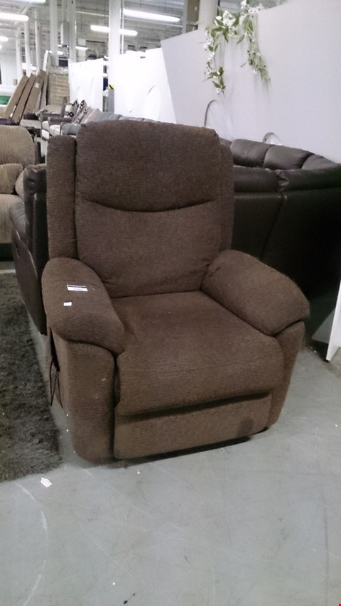 Lot 1205 DESIGNER BROWN FABRIC RECLINING ARM CHAIR