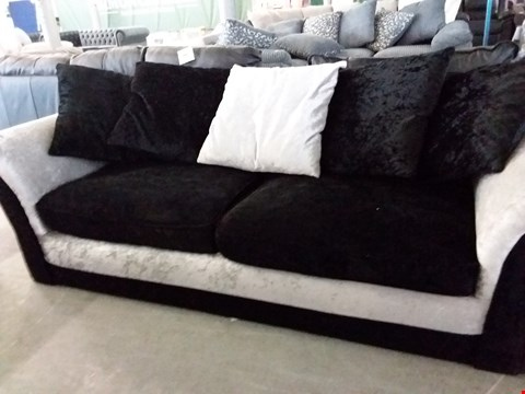 Lot 35 DESIGNER BLACK AND GREY FABRIC 2 AND 3 SEATER SOFAS WITH SCATTER CUSHIONS