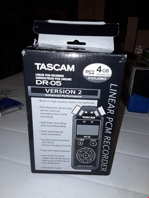 Lot 12449 TASCAM DR-05B PORTABLE RECORDER