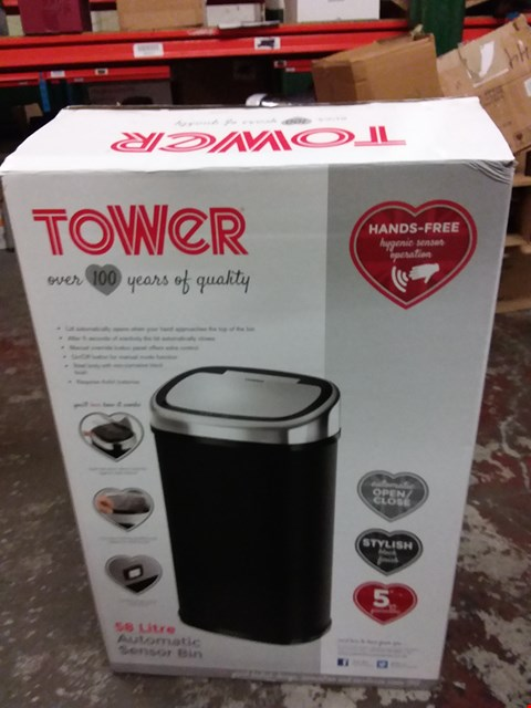 Lot 172 TOWER 50L SQUARE SENSOR BIN IN BLACK  RRP £75