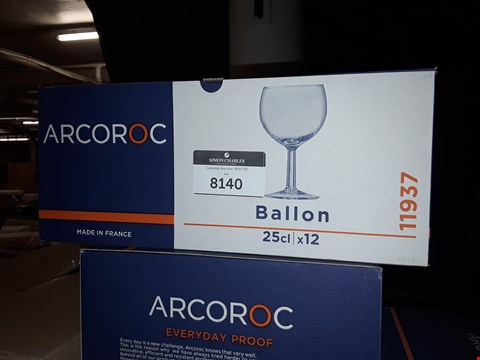 Lot 8140 LOT OF 5 BOXES OF ARCOROC BALLON 25CL WINE GLASSES