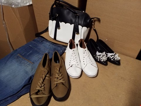 Lot 9341 LOT OF APPROXIMATELY 66 ASSORTED SHOES AND CLOTHING ITEMS TO INCLUDE TWO TONE HANDBAG AND VARIOUS PAIRS OF JEANS AND SHOES (4 BOXES)