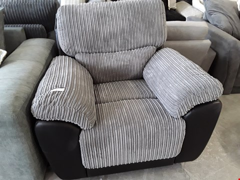 Lot 5 DESIGNER SIENNA GREY JUMBO CHORD MANUAL RECLINING EASY CHAIR