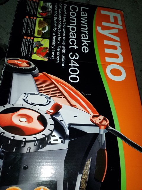 Lot 12142 FLYMO LAWNRAKE COMPACT 3400 ELECTRIC LAWNRAKE, 750 W, CUTTING WIDTH 34 CM