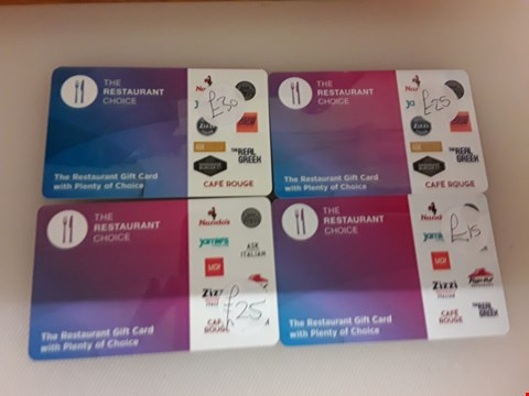 Lot 59 4 ASSORTED THE RESTAURANT CHOICE GIFT CARDS TOATAL VALUE £95