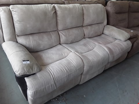 Lot 91 DESIGNER MADRID BEIGE SLATE NAPPA MANUAL RECLINING 3 SEATER SOFA