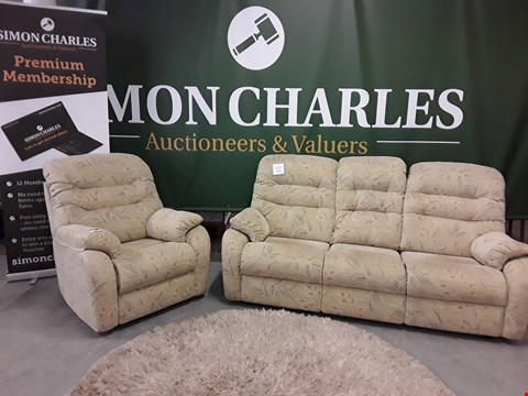 Lot 3022 QUALITY BRITISH MADE, HARDWOOD FRAMED GREEN PATTERNED FABRIC 3 SEATER SOFA AND ARMCHAIR