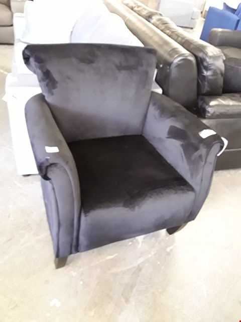 Lot 335 DESIGNER BLACK PLUSH VELVET SCROLL BACK ARMCHAIR