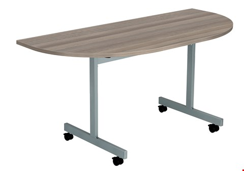 Lot 59 6 BRAND NEW ONE EIGHTY D-END 140 X 70 FLIP TOP MEETING TABLE TOPS ONLY - GREY OAK