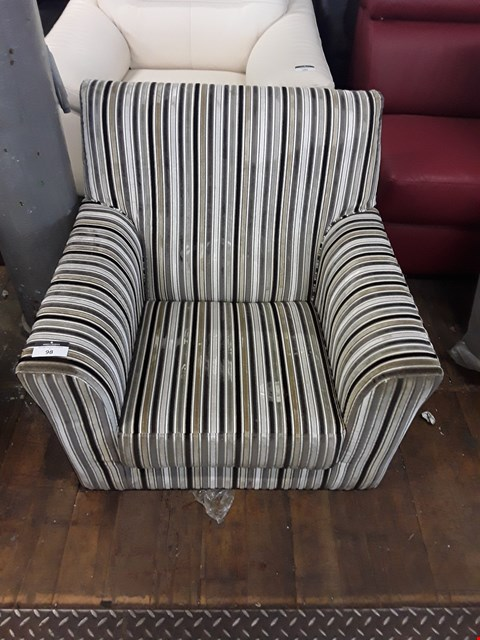 Lot 98 DESIGNER STRIPED FABRIC ARMCHAIR
