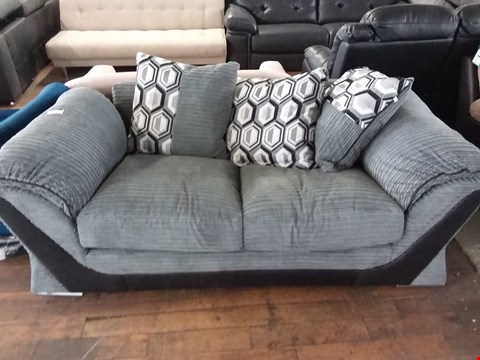 Lot 96 DESIGNER GREY CORD FABRIC 2 SEATER SOFA WITH SCATTER CUSHIONS