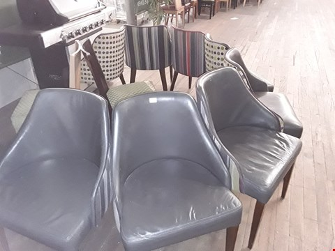 Lot 83 APPROXIMATELY 10 ASSORTED CHAIRS INCLUDING PATTERNED FABRIC WOODEN CHAIRS AND GREY LEATHER CHAIR WITH STRIPED BACK