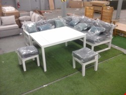 Lot 31 BATANG 7-SEATER METAL PATIO COFFEE SET, COMPRISING 2-SEATER ARMLESS SOFA, 3-SEATER SOFA WITH ARMS, TABLE AND TWO STOOLS RRP £1015