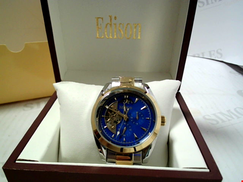 Lot 5623 DESIGNER EDISON AUTOMATIC MOONPHASE WATCH WITH TWO TONE STARP RRP £600.00