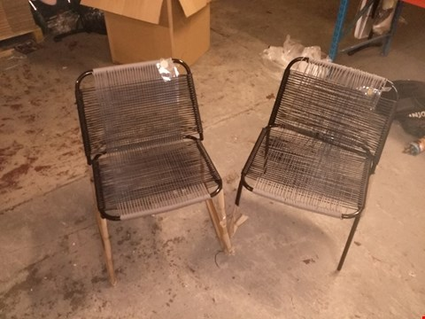 Lot 5868 2 WEAVED CABLE GARDEN CHAIRS (DAMAGED)