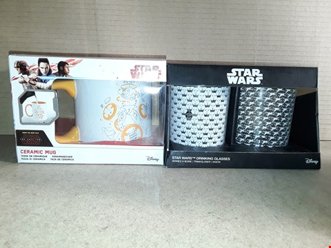 Lot 201 BOXED BRAND NEW STAR WARS CERAMIC MUG AND DRINKING GLASSES