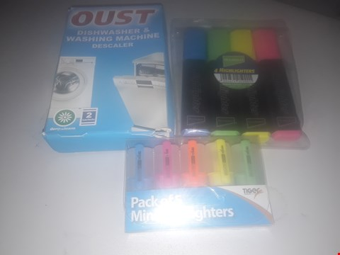 Lot 5583 BOX OF ASSORTED ITEMS TO INCLUDE PACK OF 5 MINI HIGHLIGHTERS, RYMAN PACK OF 4 HIGHLIGHTERS AND OUST DISHWASHER & WASHING MACHINE DESCALER ETC