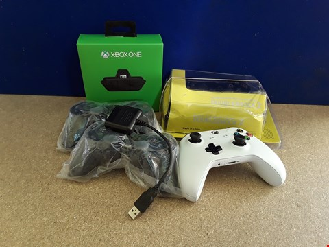 Lot 5036 SIX ASSORTED GAME CONSOLE ITEMS, INCLUDING THREE PLAYSTATION CONTROLLERS AND XBOX CONTROLLER